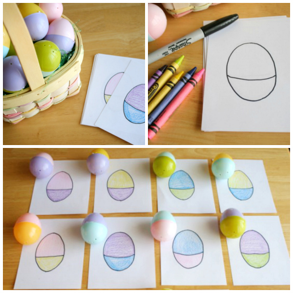 Easter Egg Coloring Matching Game for Kids