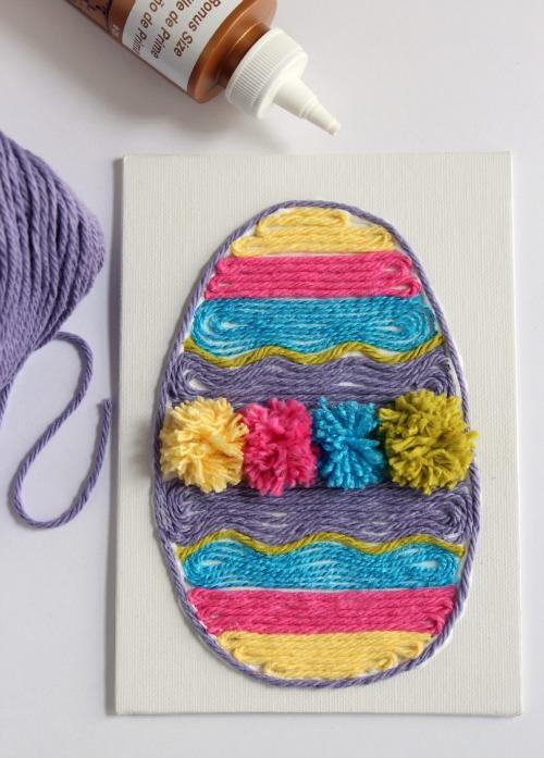 Easter Egg Yarn Art makeandtakes.com