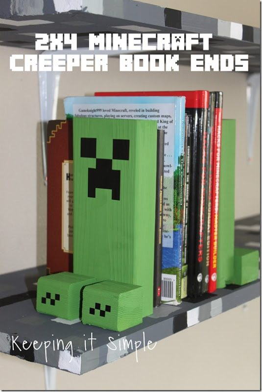 Easy-DIY-Minecraft-Creeper-Book-Ends[10]