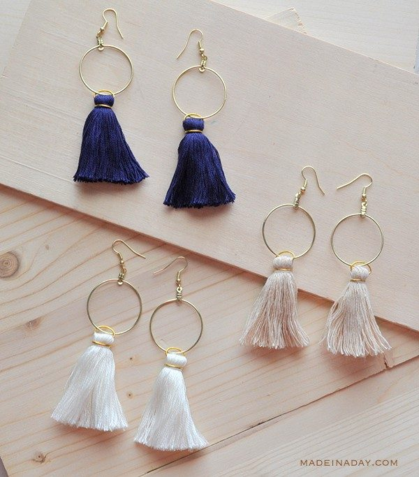 DIY Hoop Tassel Earrings