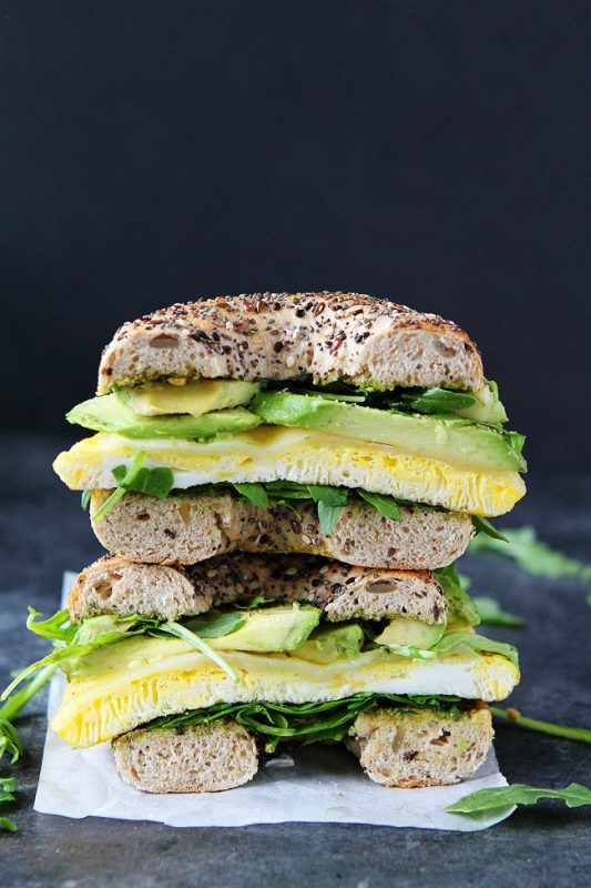 Egg, Avocado, and Pesto Bagel
