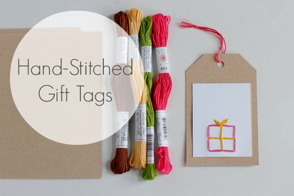 Embroidered Hand-Stitched Gift Tags @makeandtakes.com