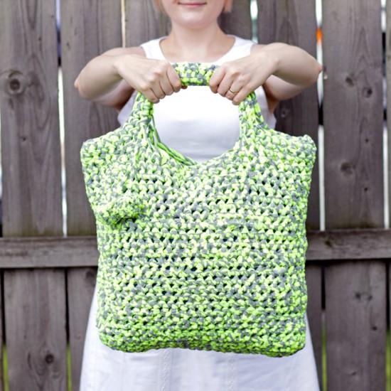 Fabric Yarn Crochet Tote @Handsoccupied.com