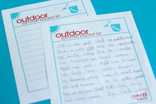 Family Outdoor Summer Bucket List Free Printable