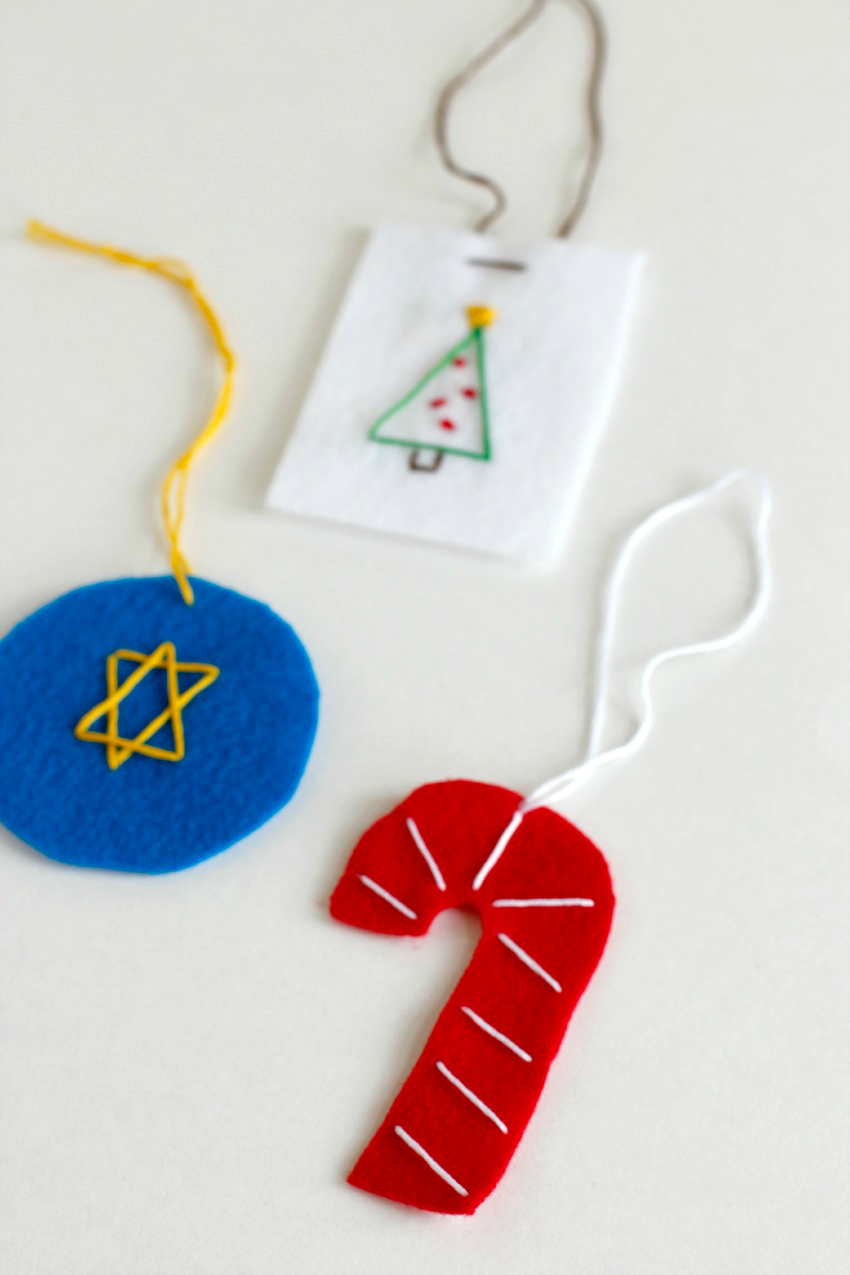 Felt Stitched Ornaments with Holiday Shapes