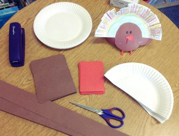 Festive Paper Plate Turkey Headband Supplies