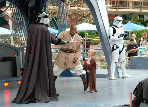 Fighting Darth Vadar in Disneyland Jedi Training