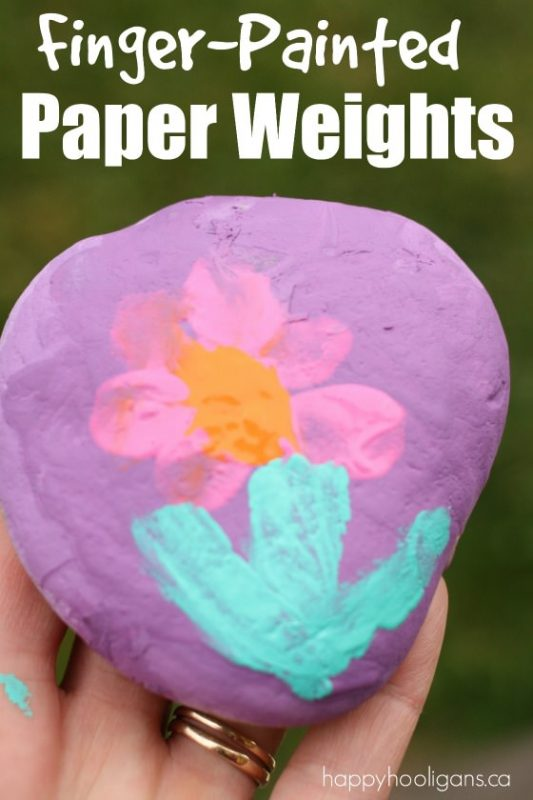 Finger-Painted Paper Weights