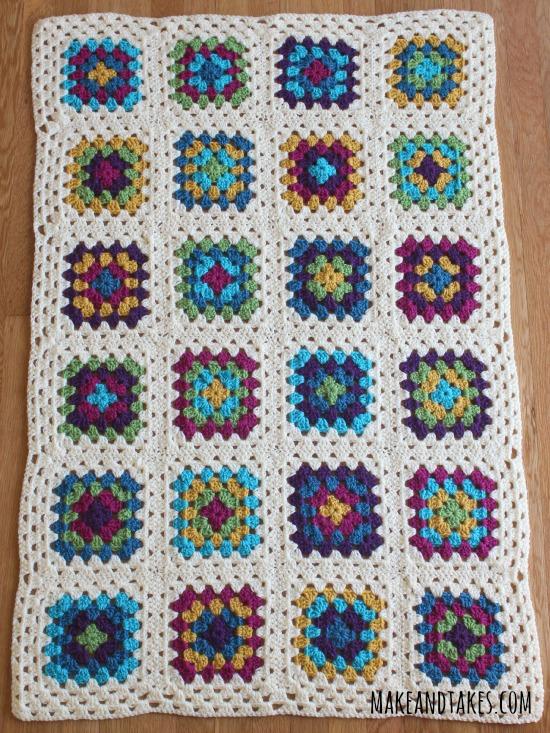 Finished Granny Square Blanket makeandtakes.com