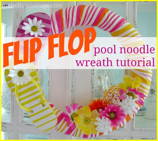 Flip Flop Pool Noodle Wreath tutorial
