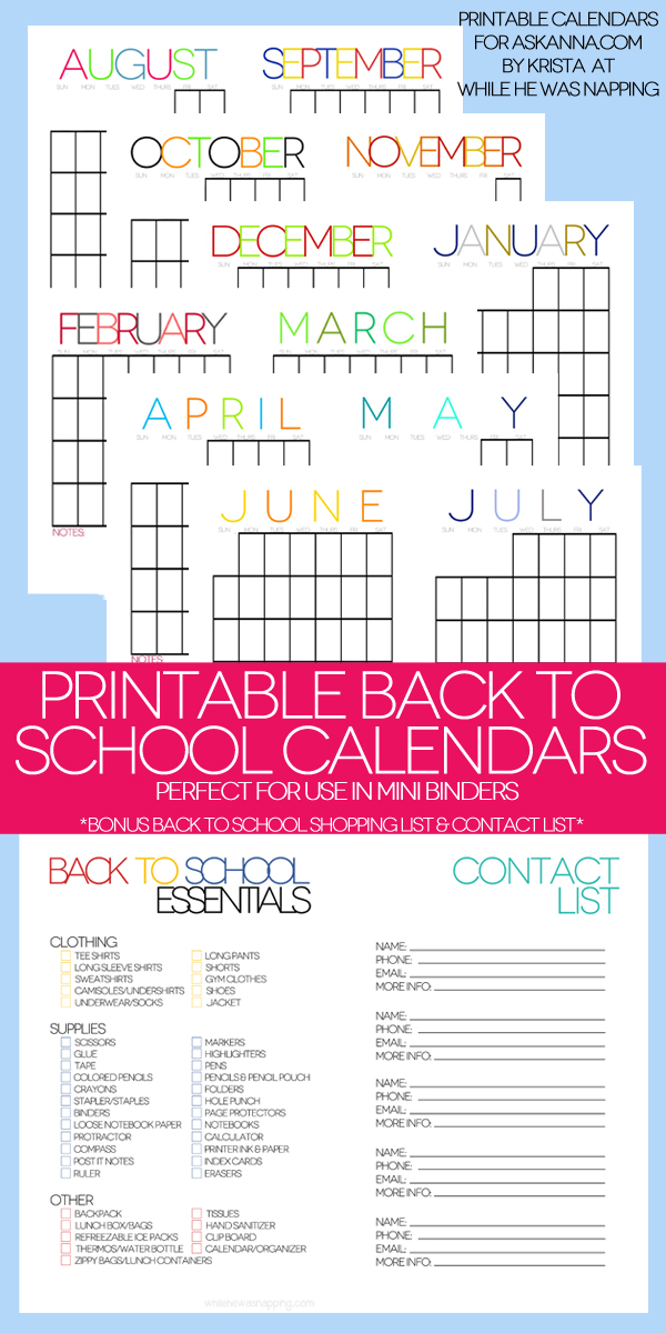 Printable Back to School Organizer Kit