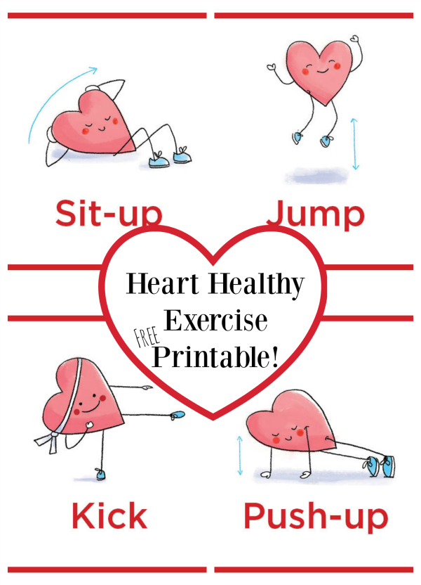 Heart Healthy Exercise Printable - FREE! | Make and Takes