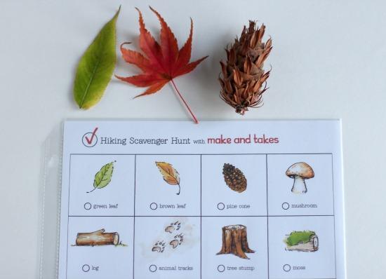 Free Printable for Hiking Scavenger Hunt @makeandtakes.com
