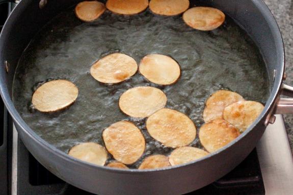Frying Homemade Potato Chips