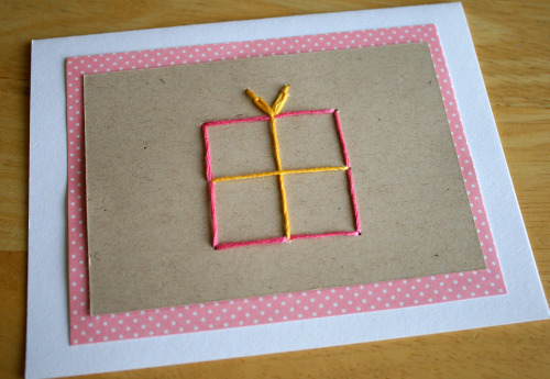 Gift Box Stitched Greeting Card
