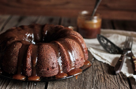 Gingerbread Bundt Cake with Pear Glaze