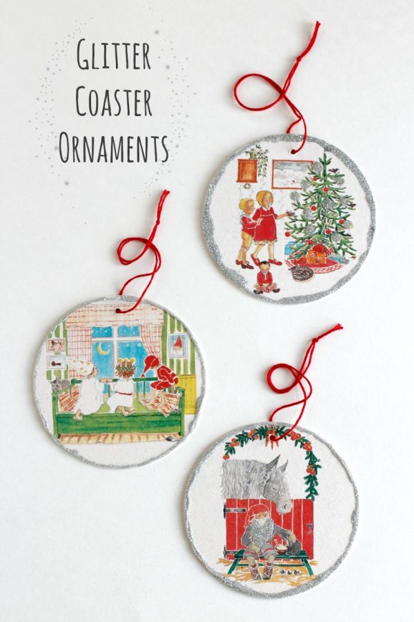 Glitter Coaster Ornament Craft of Awesome
