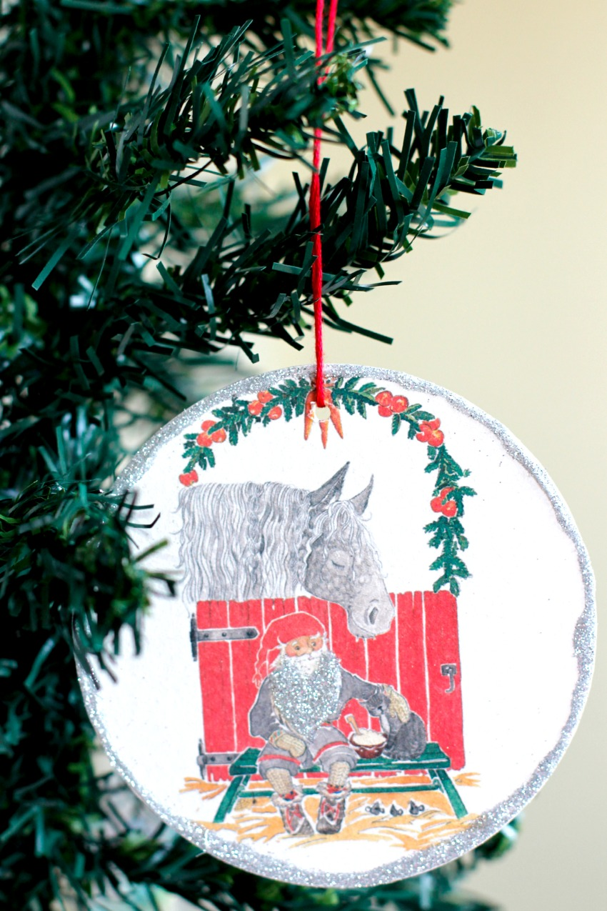 Glitter Coaster Ornaments Hanging on the Tree