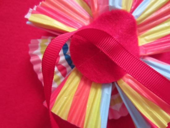 Gluing Cupcake Liner Flowers