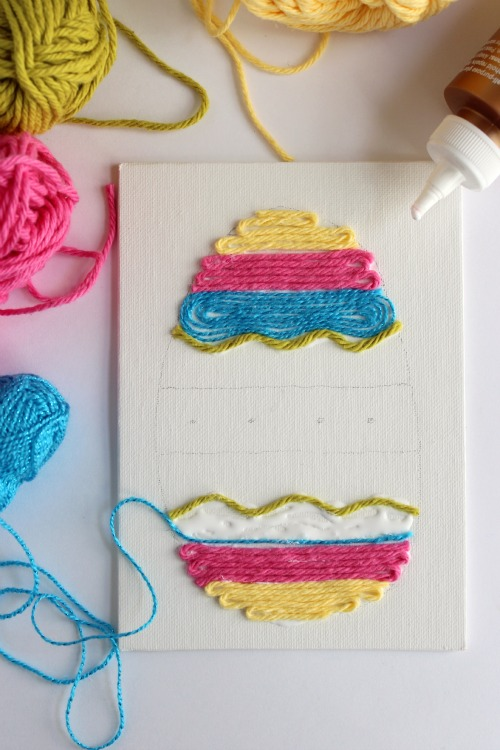 Gluing Yarn Art for Easter