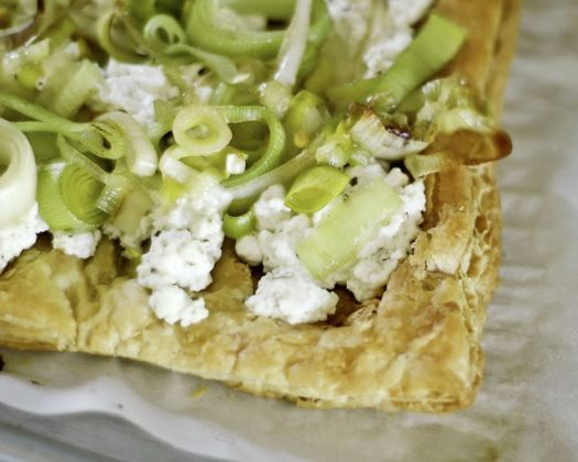 Leek and Goat Cheese Puff Pastry Tart | Make and Takes