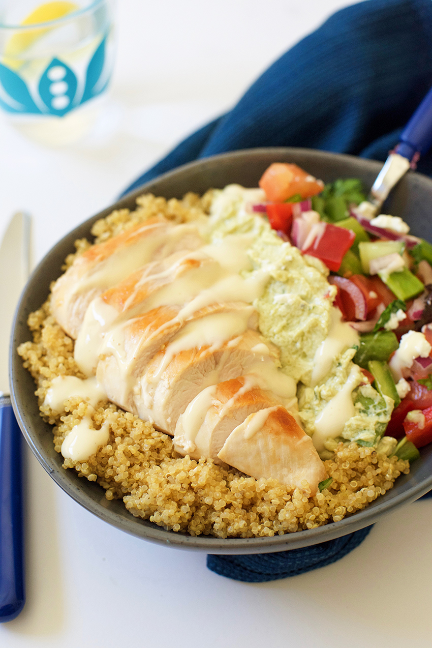 Greek Chicken, Avocado and Quinoa Salad Bowl recipe
