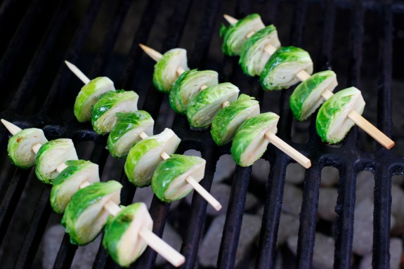 Grilling Brussel Sprouts Skewers