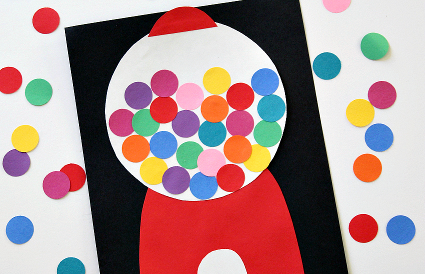 Bright Amp Colorful Paper Gumball Machine Collage Make And