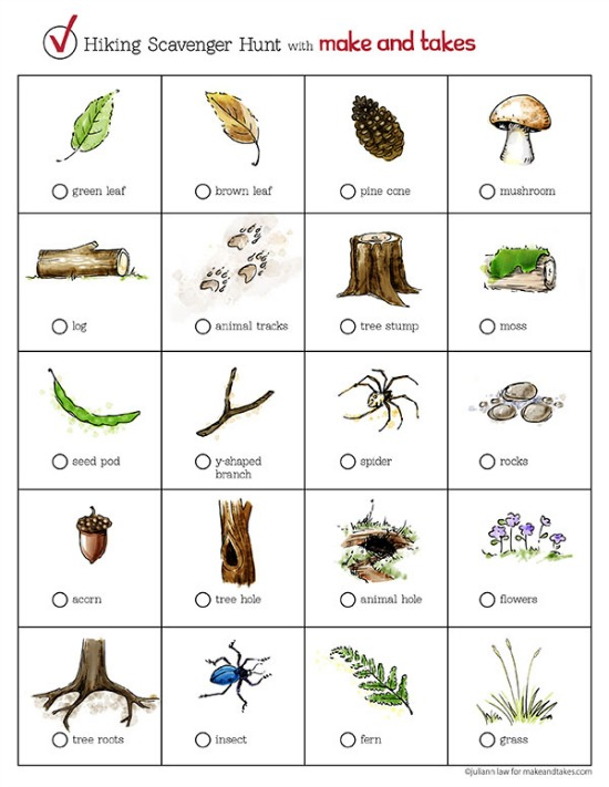 picture regarding Printable Nature Scavenger Hunt named Mountaineering Scavenger Hunt Printable for Little ones Generate and Normally takes