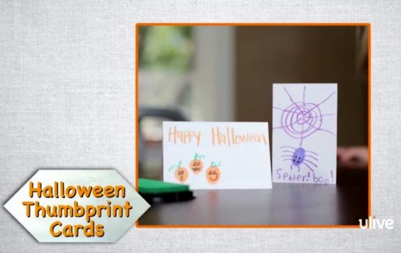 Halloween Thumbprint Cards Kids Craft makeandtakes.com