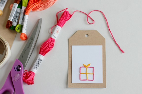 Hand-stitched Gift Tags @makeandtakes.com
