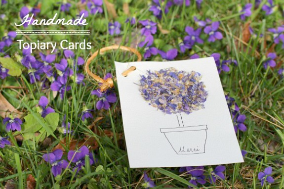 Handmade floral topiary cards to make