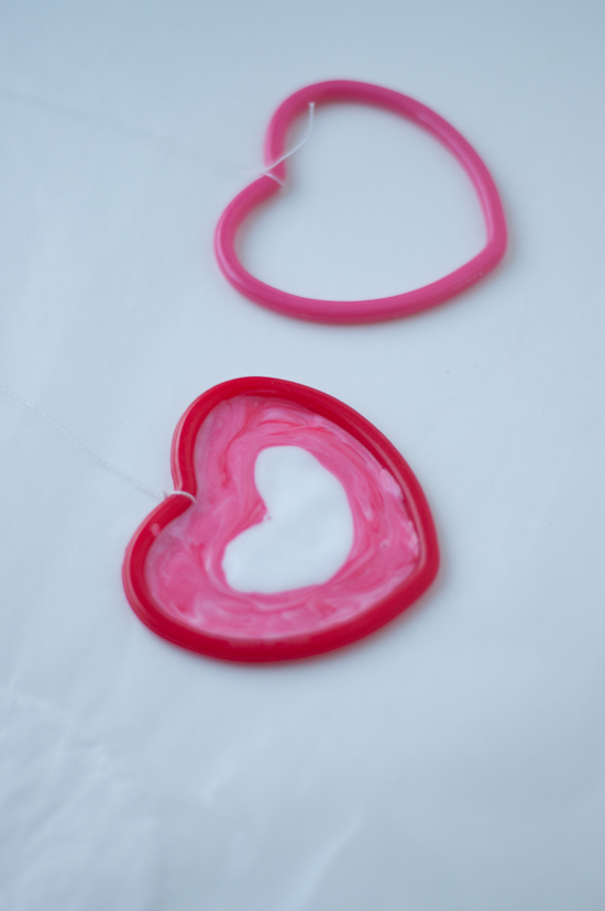 Dried Glue for Making Hanging Hearts @makeandtakes.com