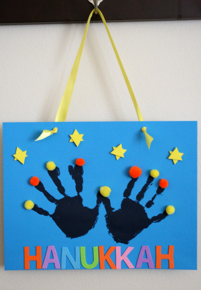 Handprint Hanukkah Menorah Kids craft