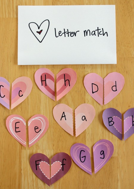 Heart Shapes Letter Match Craft