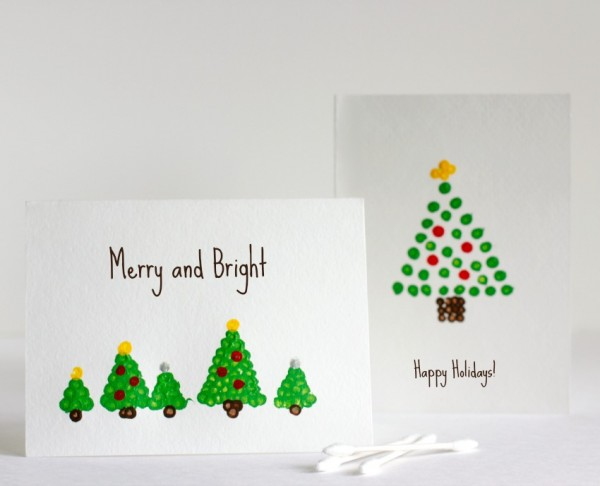 Holiday Cards with Qtip Painting