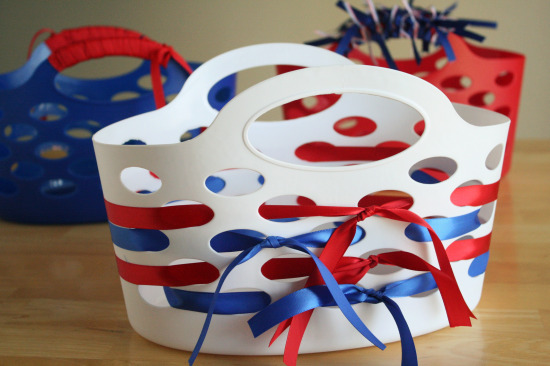 Holiday ribbon wrapped gift baskets make and takes supplies for ribbon wrapped gift baskets negle
