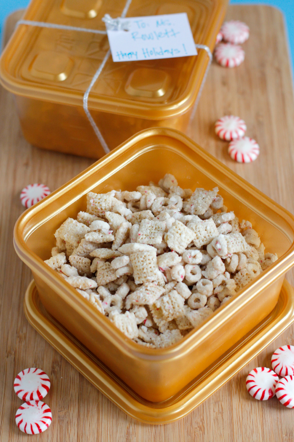 Holiday White Chocolate Peppermint Muddy Buddies