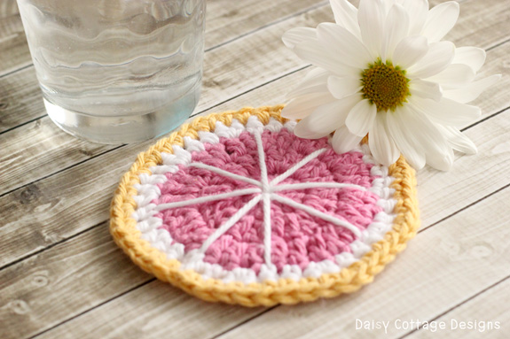 Grapefruit Crochet Coaster