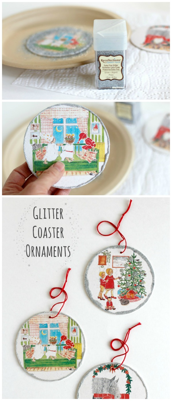 How to Craft Glitter Coaster Ornaments