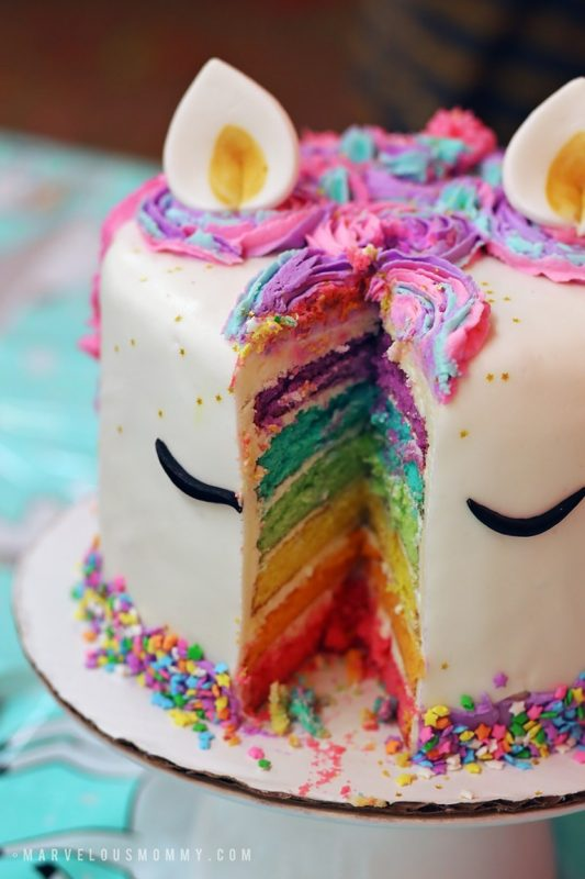 DIY Rainbow Unicorn Cake