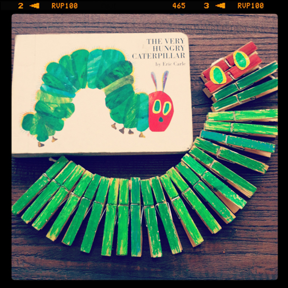 The Very Hungry Caterpillar Clothespin Craft
