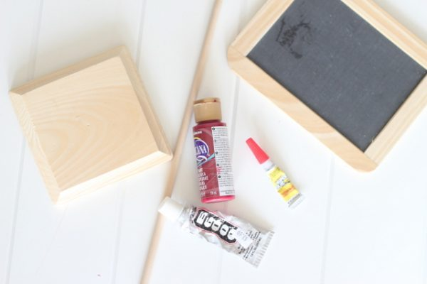 supplies for holiday chalkboard