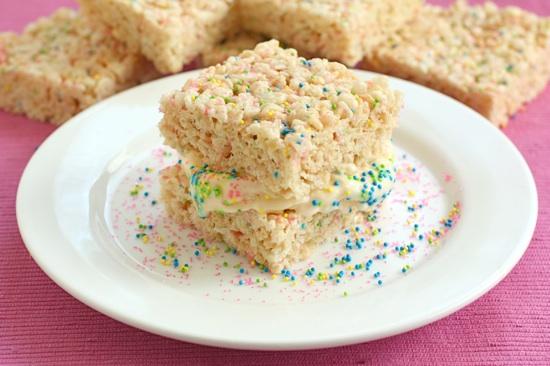 Ice Cream Rice Crispy Treat Sandwiches