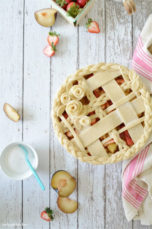 Strawberry Plum Lattice Pie