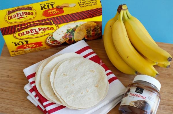 Ingredients for Banana Hazelnut Burritos