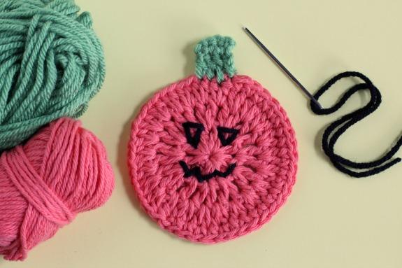Jack o' Lantern Crochet Coaster