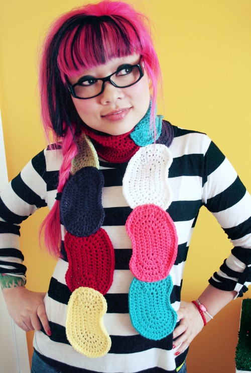 Jelly Bean Crochet Scarf from twinkiechan.com