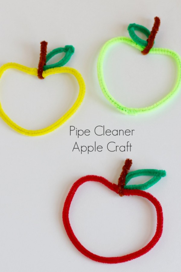 Kids Crafting Pipe Cleaner Apples
