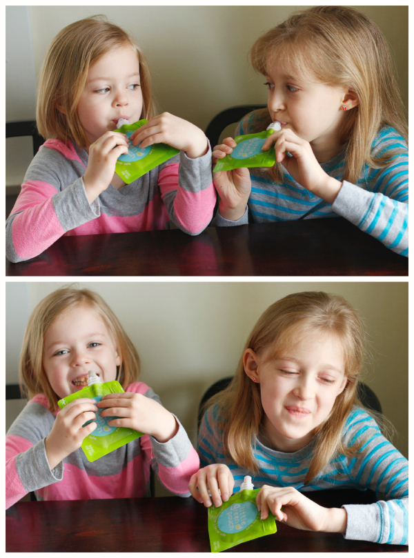 Kids Drinking from Little Green Pouches